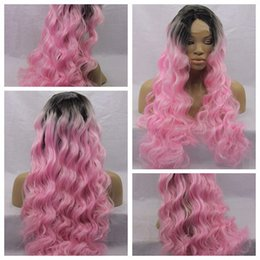 Wholesale Two Tone Kinky Curly - Cheap Wigs with Baby Hair kinky Curly Wigs Ombre Two Tone Black Pink Glueless Synthetic Lace Front Wigs For Black Women Heat Resistant
