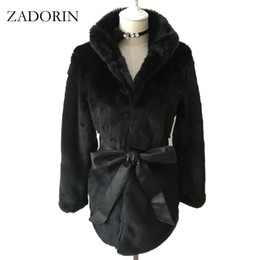 Wholesale Fake Mink Coats - 2017 Winter New Women FAUX Mink Fur Coat With Belt Fashion Fake Fur Coats Winterjas Dames Fur Gilet chalecos de pelo mujer S-4XL q171137