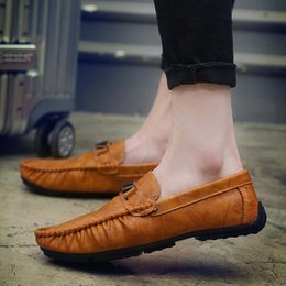 Wholesale Soft Sole Casual Leather Shoes - Men Loafers Shoes Man Soft Moccasin Dress Shoes Gommini Leather Casual Shoe Breathable Rubber Sole Plus Size 38-45 9007
