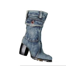 tacchi alti di colore blu Sconti Tacco spesso donna Stivali mezze jeans blu Denim  Lady Winter 04fb5daf556