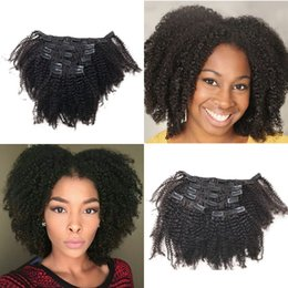 Wholesale African Curly Hair - 120g 4c Afro Kinky Curly Remy Hair Clip in Extensions Brazilian Human Hair Clip ins for African American FDSHINE