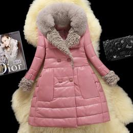 Wholesale Genuine Lamb Fur Coats - New Women's natural fox fur collar patchwork lamb fur genuine sheepskin leather duck down meidum long parka double breasted coat casacos XXL