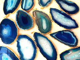 Wholesale Agate Gemstone Necklace - Large Blue Agate Druzy Slice Pendant, Gold Plated Agate Geode Slice, Blue Agate slice, Druzzy, Druzy Pendant For Necklace Jewelry Gemstone