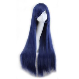 Wholesale Yellow Long Wigs - WoodFestival 80cm fiber wigs for women blonde black pink blue yellow navy long straight wig cosplay synthetic hair wigs