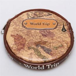 Wholesale Design Purse Woman - Wholesale- New Design World Trip Pattern Mini Vintage Purse Round Coin Purse Small Zipper Wallets Map Change Purse for Women