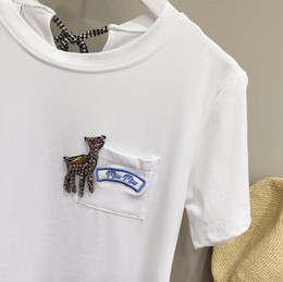 Wholesale Bow Tie T Shirt - Europe and the United States handmade diamond embroidery deer decorated cotton T - shirt back bow tie short - sleeved T - shirt