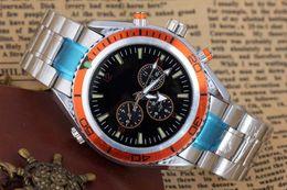Wholesale Orange Bezel Dive Watch - Hot selling Luxury New Dive Automatic Mechanical Mens Sports Stainless steel Bracelet Orange Bezel Black Rubber Watches James Bond 007 Style