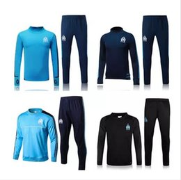 Wholesale Football Training Clothing - 2017Top quality Olympique de Marseille soccer Training suit tracksuit long sleeve football training clothes sports wear mens