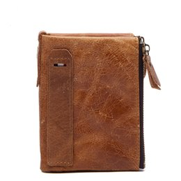 Wholesale Vintage Horse Photo - Slymaoyi 2017 Genuine Crazy Horse Cowhide Leather Men Wallet Short Coin Purse Small Vintage Wallet Brand High Quality Designer