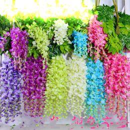 Wholesale Wholesale Rattan Wreaths - Artificial Flowers Simulation Wisteria Flower Romantic Wedding Decorations 110CMx12pcs 6 colors Cane Garden Dried Silk Wreaths Flowers