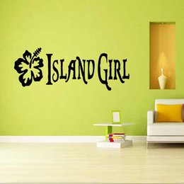 wall stickers for girls bedrooms Coupons - For Island Girl Decal Beautiful Flower Mirror Wall Art Removable Sticker Graphic Bedroom Sitting Room Diy Decor