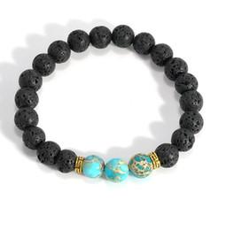 Wholesale Mens Jewelry Beads - Wholesale- 2017 Hot Lava Stone Bead Bracelets mens braclets Handmade Natural Stone Bracelets For Women Men Jewelry pulseiras