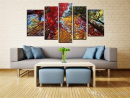 Wholesale Large Abstract Canvas - YIJIAHE Abstract Canvas Painting colourful forest Pictures Print On Canvas Large 5 Piece Wall Pictures For Living Room Bedroom Office H185