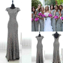 Wholesale Grey Sequin Long Dress - Bling Grey Sequins Mermaid Bridesmaid Dresses With Short Sleeves Backless Bridesmaid Gowns Plus Size Long Junior Wedding Party Gowns Cheap