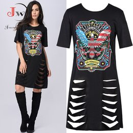Wholesale Chic Dress Woman - Women Summer Dresses Print O-neck Casual 3 4 Sleeve Party Shirt Dress Hippie Chic Hollow Out Ripped Vestidos Clothing