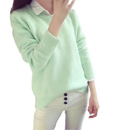 Wholesale Lowest Prices Wholesale Sweaters - Wholesale- Low Price 8 Colors Women Spring Autumn Sweater Long Sleeve Shirt-collar Women Sweater Casual Solid Lady Pullover Sweater Top
