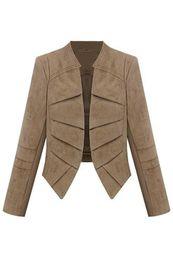 Wholesale Suede Coat Woman - Wholesale- SYB 2016 NEW Women's Suede Leather Jacket Short Coat Khaki