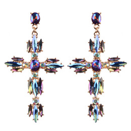 Wholesale Earring Resin Dangle - Luxury Crystal Dangle Earrings Sexy Cross Shaped Women Multi Color Bohemian Wedding Statement Earrings Maxi Jewelry