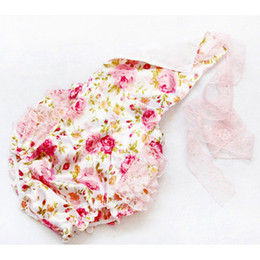 Wholesale Girl Children Knickers - Europe and the United States summer baby roses lace conjoined clothes jeans climbing clothes Toddlers Children Cotton Jumpsuits Knickers