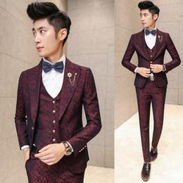 Wholesale korean slim men s suit - Wholesale- Prom Men Suit With Pants Red Floral Jacquard Wedding Suits for Men 3 pieces   Set (Jacket+Vest+Pants) Korean Slim Fit Dress