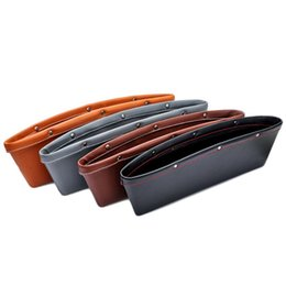 Wholesale Leather Car Visor Organizer - Car Storage Bag Box Leather Auto Car Seat Gap Pocket Catcher Organizer Leak-Proof Storage Box 4 color Available