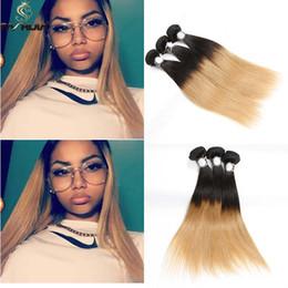 Wholesale Long Hair Extensions Blonde - Brazilian virgin human hair bundles two tone black brown soft shiny blonde straight long weave high quality ombre Brazilain hair extension