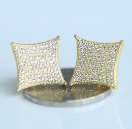 Wholesale gold square stud - 2017 Super Full crystal Rhinestones square Stud Earring Gold&Silver Color Hip hop Fashion Men women Jewelries screw back Earring