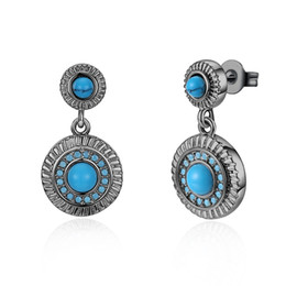 Wholesale turquoise blue gemstone - Fashion Platinum Gold Plated Turquoise gemstone Stud Earring high-quality charm earring for woman Vintage charm jewelry E005