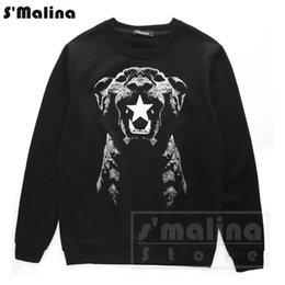 Wholesale Dog Head Hoodie - Men's print sweatshirt dog head with star leisure hoodie black pullover O neck DH020