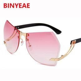 Wholesale Transparent Glasses Rimless - oversized frameless sunglasses women shades butterfly big transparent glasses 2017 luxury gradient pink glasses female eyeglasses lunettes