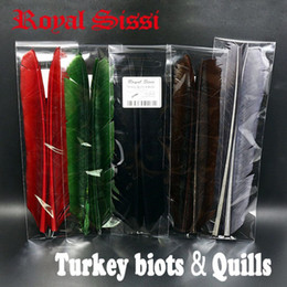 Wholesale Wholesale Fly Tying Feathers - 5pairs set Turkey Biots &quills feather fly tying material first flight feather barbs for split tails &downwings tying material