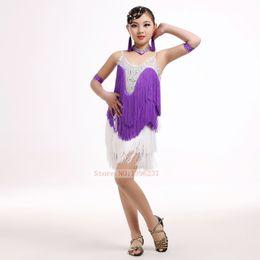 Wholesale Kids Fringe Latin Dance Dress - Latin Dance Competition Costume For Girls High Quality Diamonds Latin Fringe Dress For Game 100% New Kids Latin Tassel Skirt