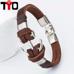 Wholesale Anchor Hook Bracelet - Good price !2017 Fashion Charm Leather Anchor Men's Bracelets Hot Bangle Handmade Leather Bracelets Hooks Men's Bracelets !