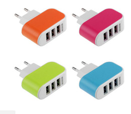 Wholesale Solar Wall Charger - US EU Plug 3 USB Wall Charger 5V 3.1A Real 2A LED Power Adaptor Triple USB Ports 700pcs lot