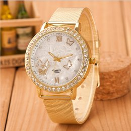 Wholesale Pin Trade - Foreign trade burst with the fashion gold belt with Korean version of the butterfly diamonds quartz watch decorative watch