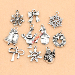 Wholesale Tibetan Silver Boot Charms - Wholesale- Tibetan Silver Plated Christmas Boot Snowman Boot Snowflake Charms Pendants Bracelet Necklace Jewelry Making Accessories DIY