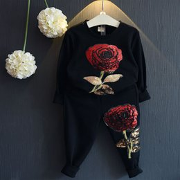Wholesale 2pc Fashion - Fashion Rose Flower Set For Baby Girl Boutique Clothes Spring Autumn Children Kid Embroidered Sequin Sweatshirt+Sport Pant 2PC Suit