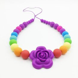 Wholesale Teething Bead Necklace Wholesale - Rainbow Exposed Cord Necklace - Silicone Teething Necklace flower bead for baby chewed