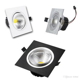 Wholesale Black White Kitchen Knobs - Square Dimmable Led Downlight 9w 12w 15w 20w COB Led Recessed Down Lights Silver White Black + Led Drivers