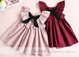 Wholesale Puffs Clothing - 2017 Hot Selling Girl's Deep V-neck Pleated Dress Bow Lotus Leaf Kids Clothes Dress High Quality Skirt D7208