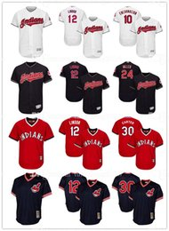 Wholesale Embroidery Francisco Lindor Cleveland Indians Baseball Jerseys Joe Carter Edwin Encarnacion Andrew Miller Throwback Flex Base Jersey