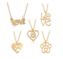 Wholesale American License Plate - 12Pcs Lot Creative dog claw Pendant Necklace Stitching pet master necklace dog license Pendant Necklaces 2017 Jewelry