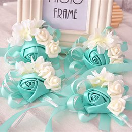 Wholesale Bouquets For Bridesmaids Pink - 10 pieces lot bride tiffanyblue wrist flowers bouquets bridesmaids sister hand flowers for wedding or party corsages