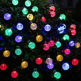 Wholesale Indoor Wedding Decor - Solar Powered Christmas Tree Decor Waterproof 6M 30 Leds Crystal Bubble Ball Light Wedding New Year Holiday Fairy Lamp String