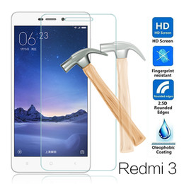 Wholesale Xiaomi Hongmi Mobile Phones - Wholesale-For Xiaomi Redmi 3 Tempered Glass 5.0inch 9H 2.5D Premium Screen Protector Film For xiaomi redmi3 hongmi 3 Pro 3S mobile phone