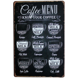 Wholesale a1 boards - Wholesale- COFFEE MENU Decor Metal Tin Sign Vintage Coffee Plaque Menu Board for ESPRESSO AMERICANO LATTE CAPPUCCINO LJ5-13 20x30cm A1