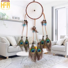 Wholesale Peacock Feather Wedding Decorations - Wall Art Decor Wall Hangings Dream Catcher Fumigation Natural Peacock Feathers Ornaments Creative Decoration For Home Wedding Car Decorators