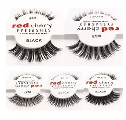 eyelashes wispies Promo Codes - New Fashion RED CHERRY False Eyelashes Natural Long Eye Lashes Extension Makeup Professional Faux Eyelash Winged Fake Lashes Wispies