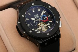 Wholesale Skeleton Rubber Watch - All Subdials Work AAA Mens Watches big bang king geneve mechanical automatic Stopwatch Luxury Watch Top Brand skeleton skull man watches