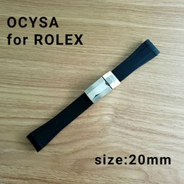 Wholesale brand tape - ocysa brand 20mm Adhesive tape Black belt watch band strap fit Rolex watches band